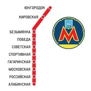 Схема ветки самарского метро с его фирменным обозначением