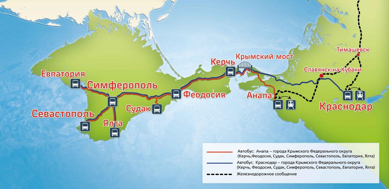 Маршрут следования до Крыма
