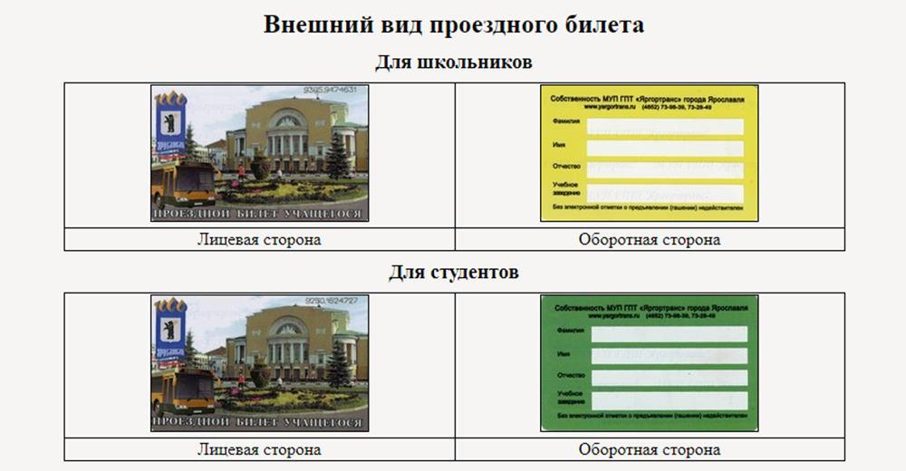 Внешний вид электронных проездных билетов для студентов и школьников